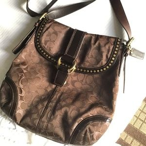 Rare Vintage Coach Signature Crossbody  Brown Lrg